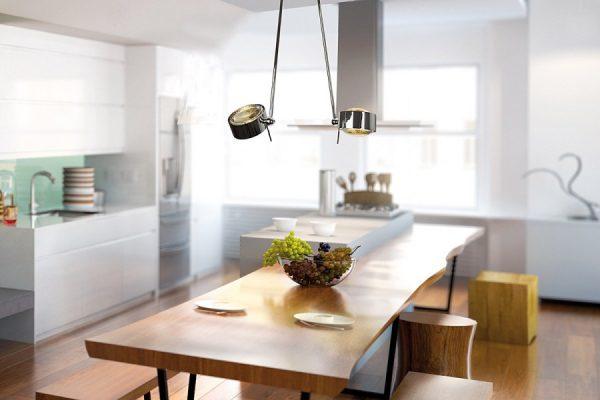Mit der flexiblen Deckenleuchte Puk Maxx Ceiling Sister Single ist eine gezielte Beleuchtung des Küchentischs möglich. Foto: Top Light