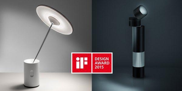 Zwei Neuheiten, zwei Preise für Artemide: Sowohl die Tischleuchte Sisifo (links) als auch die Leuchtenfamilie Objective wurden Ende Februar mit dem renommierten iF Design Award ausgezeichnet. Fotos: Artemide