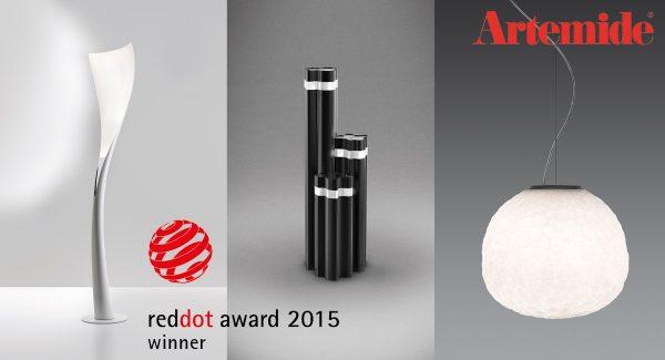 """Artemide freut sich über gleich drei Auszeichnungen. Die Leuchten Solium, Logico Garden und Meteorite erhielten kürzlich den begehrten """"Red Dot Award 2015""""."""