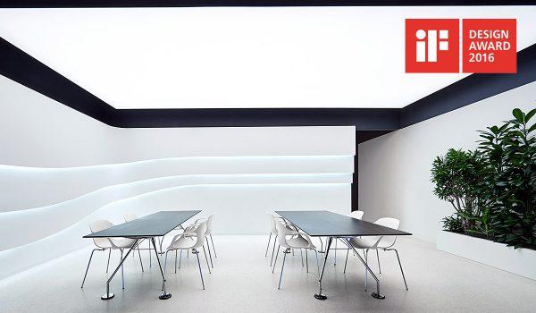 Sieht so die Lichtgestaltung in der Zukunft aus? Philips nennt seine gleichmäßig leuchtende Decke OneSpace, für diese innovative Lösung gab es jetzt den iF Design Award 2016. Foto: Philips