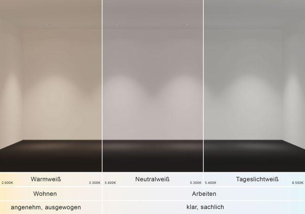 Die Lichtfarben warmweiß, neutralweiß und tageslichtweiß