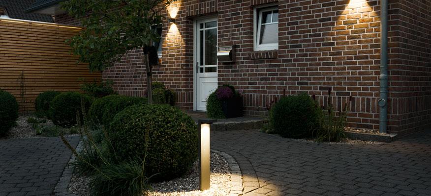 Außenleuchten Einfahrt - prediger.base p.037 Abblendbare LED Pollerleuchte / Außenwandleuchte