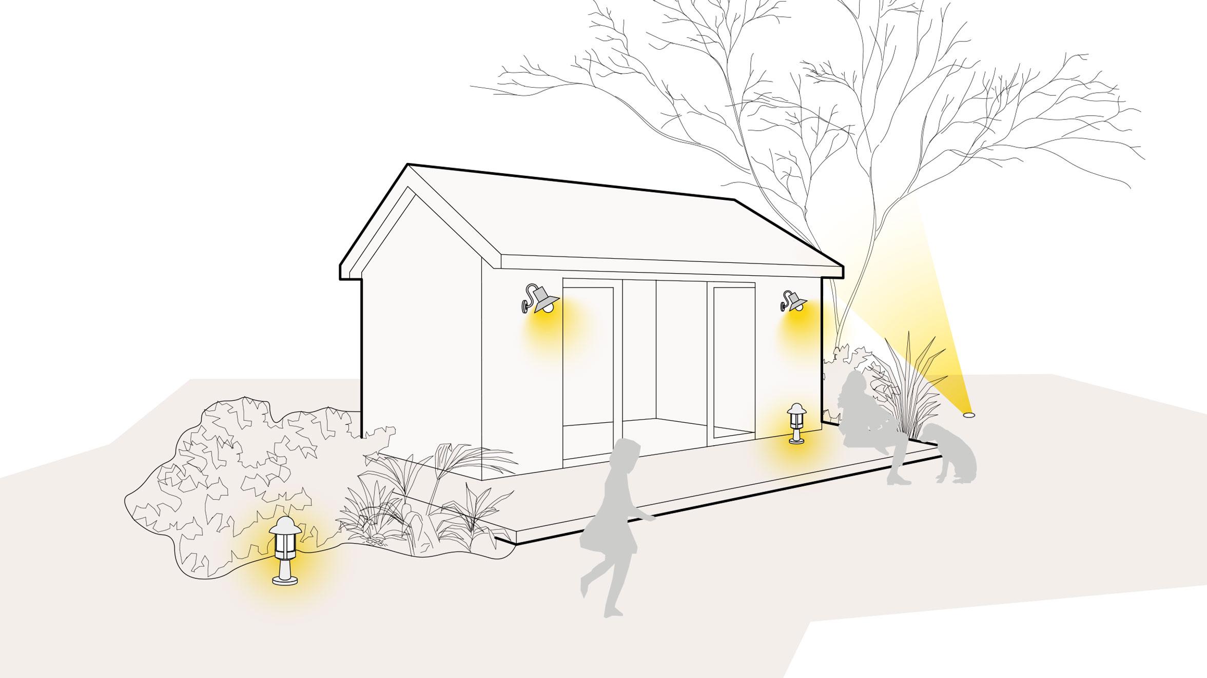 Lichtszene Gartenhäuschen
