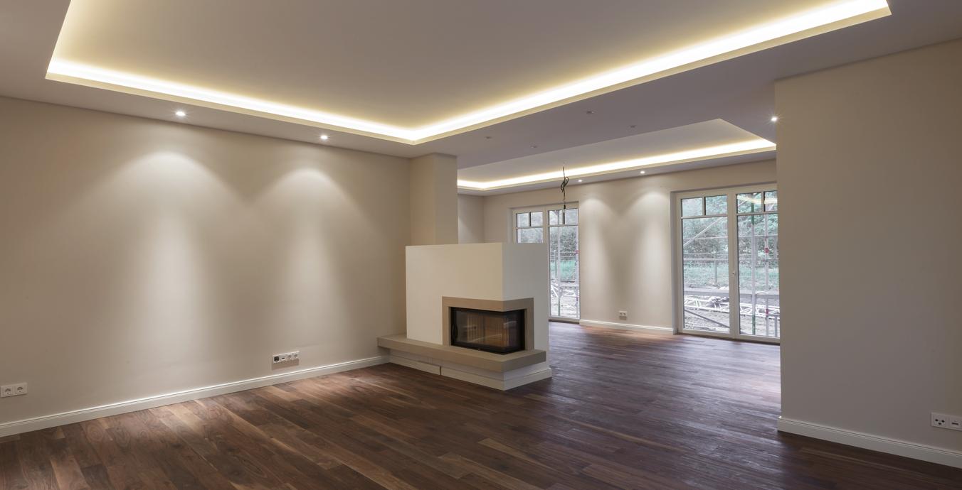 Wohnbereich mit Lichtvoute ohne Möblierung.