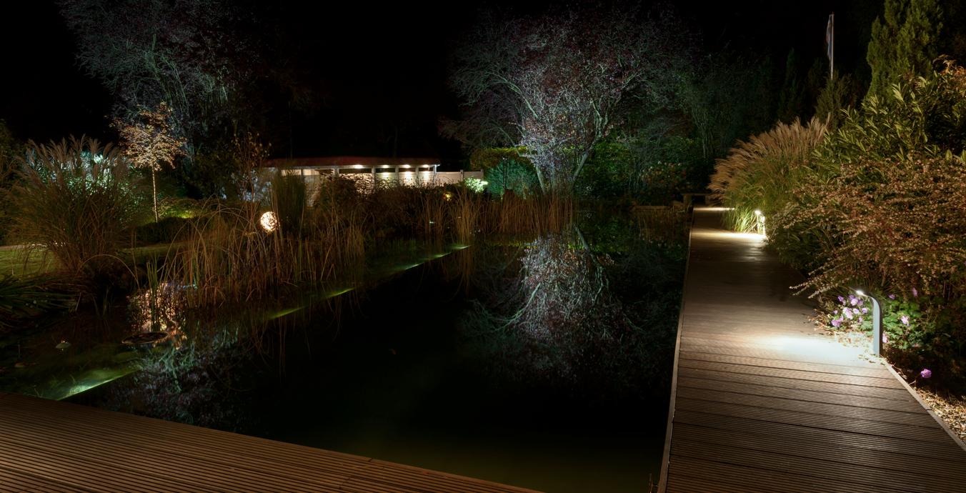 Naturschwimmteich bei Nacht.