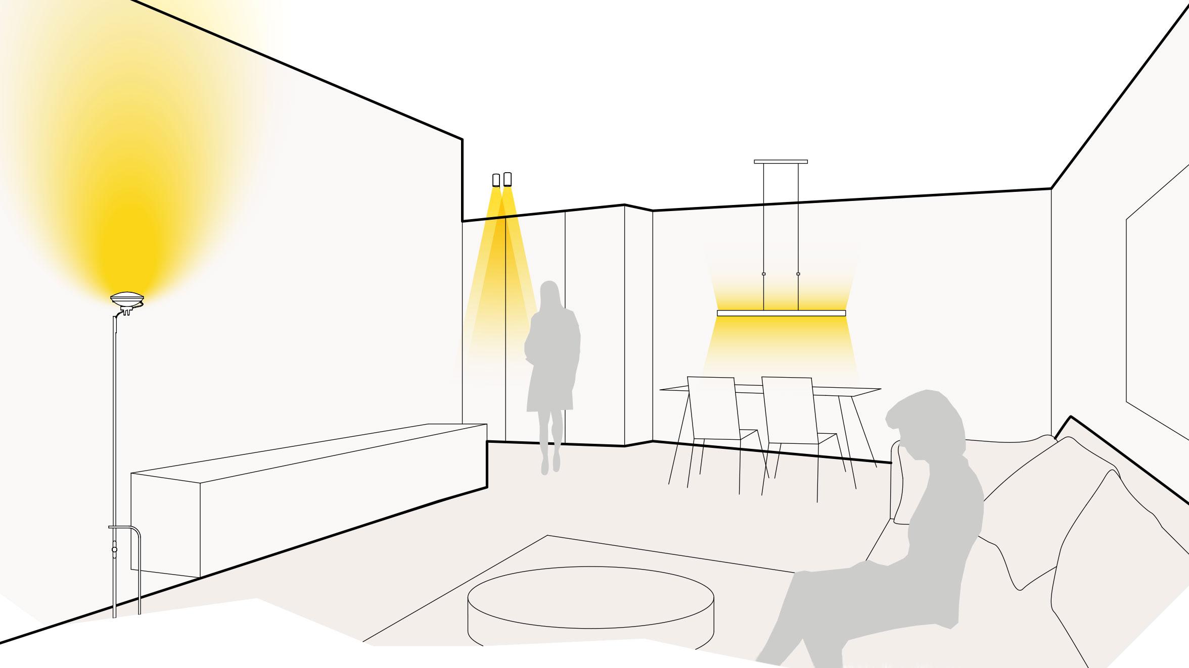 Licht im Wohn- und Esszimmer