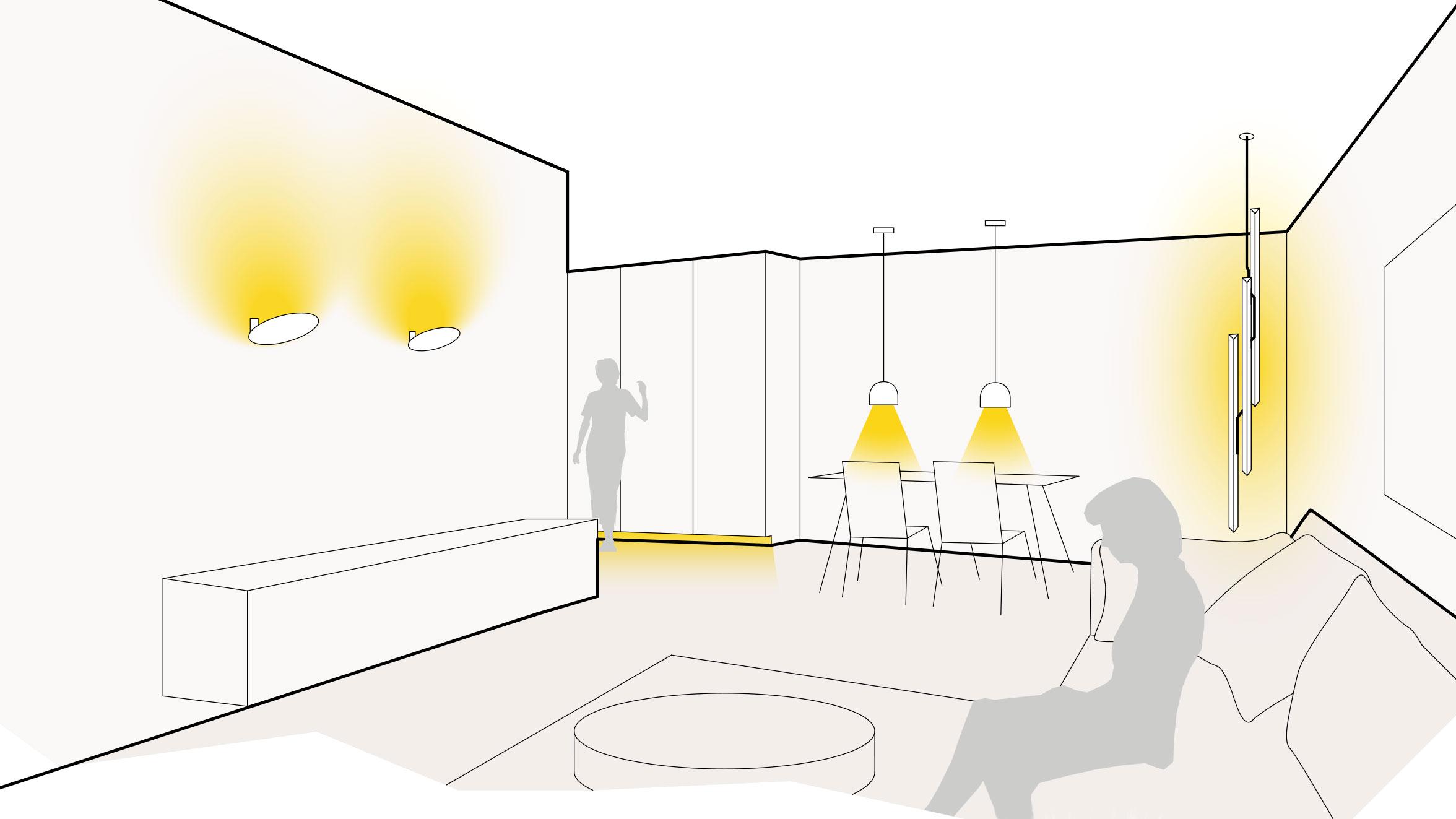 Lichtobjekt im Wohnzimmer