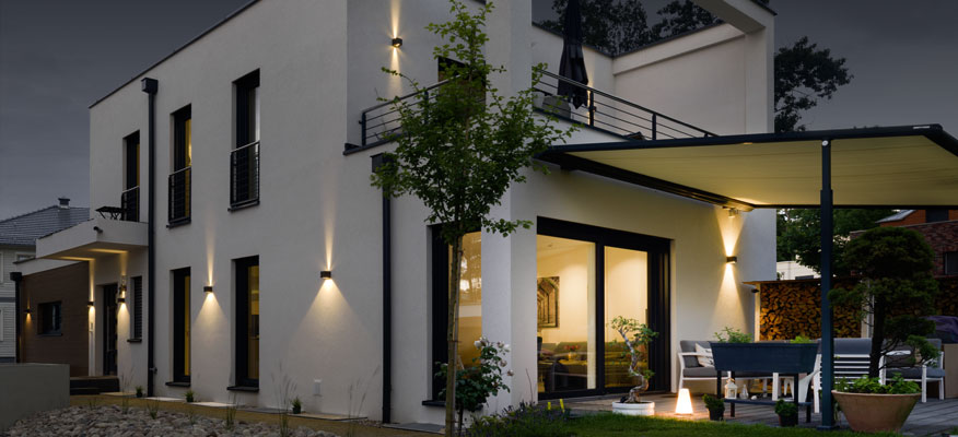 AUßenleuchten  Terasse - prediger.base p.037 zweiseitig strahlende verstellbare LED Außen Wandleuchte
