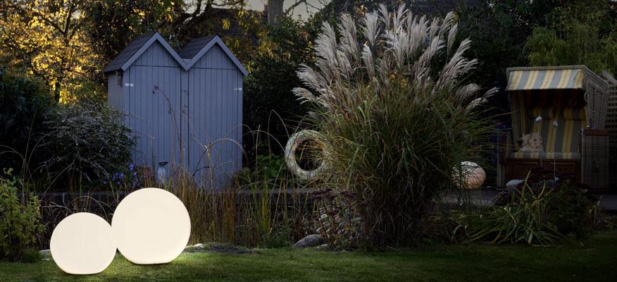 Außenleuchten Kugelleuchten - Bega Gartenleuchten mit Bodenplatte