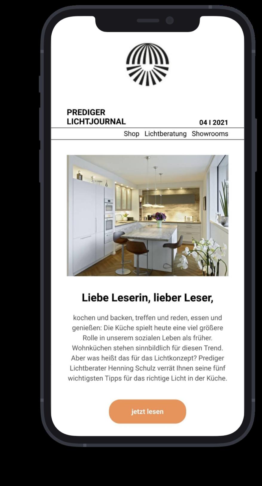 Newsletter-Vorschau auf Smartphone.
